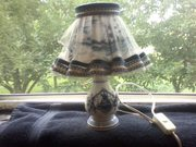 Vintage Delft Dutch Cobalt & white boudoir windmill lace lamp with sha